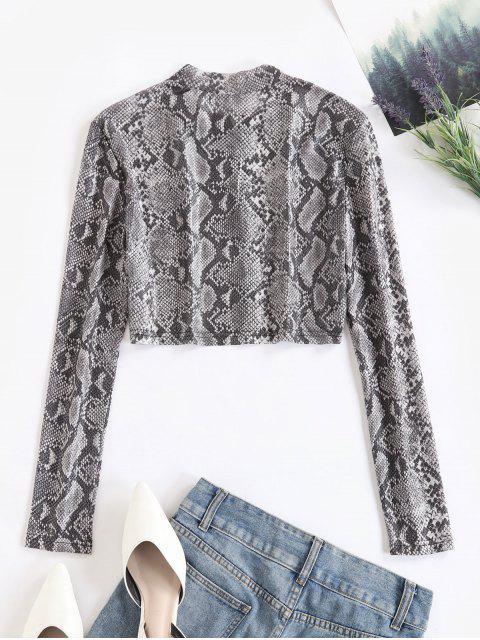 fashion Snakeskin Print Zip Up Mesh Tee - MULTI S Mobile