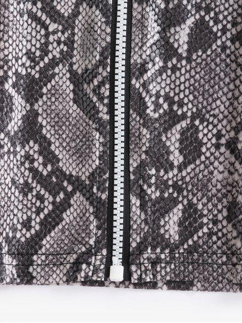 chic Snakeskin Print Zip Up Mesh Tee - MULTI M Mobile