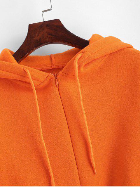 Fleece-Futter Zip Belted Crop Tropfen Schulter Hoodie - Orange M Mobile