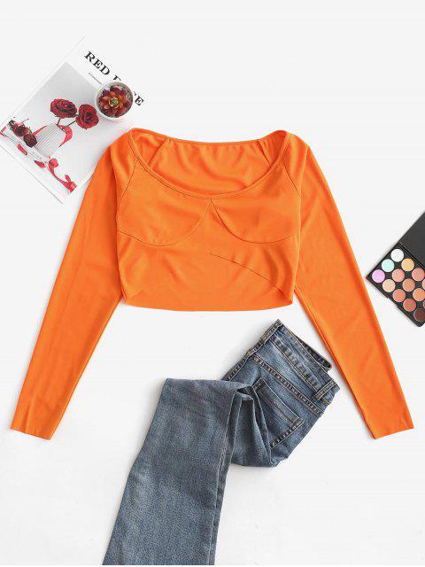 trendy Raglan Sleeve Scoop Neck Crop T-shirt - ORANGE S Mobile