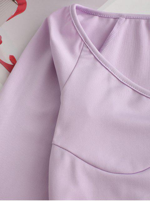 womens Raglan Sleeve Scoop Neck Crop T-shirt - PURPLE L Mobile