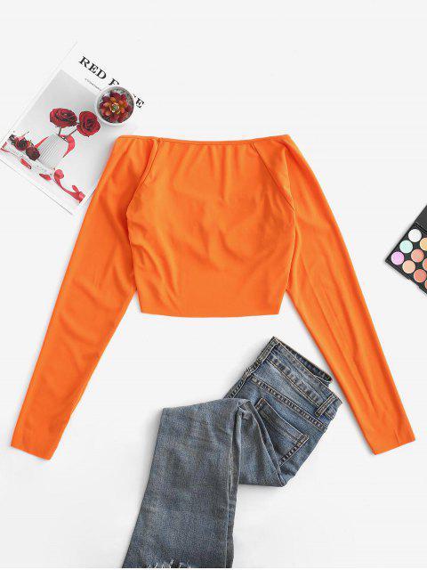 women Raglan Sleeve Scoop Neck Crop T-shirt - ORANGE L Mobile