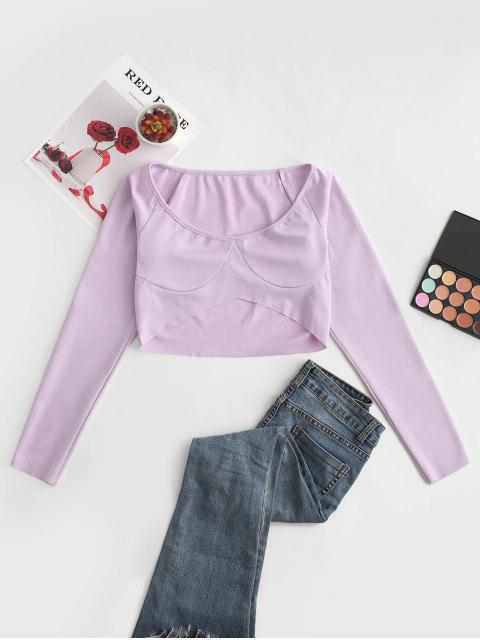hot Raglan Sleeve Scoop Neck Crop T-shirt - PURPLE M Mobile