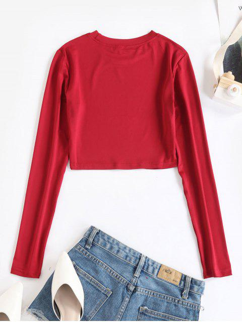chic Long Sleeves Crop Solid Basic Tee - RED 2XL Mobile