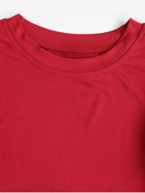affordable Long Sleeves Crop Solid Basic Tee - RED XL Mobile