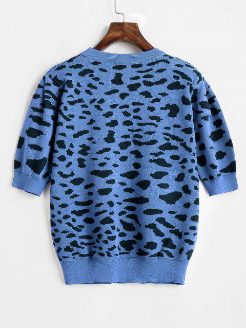 latest Puff Sleeve Leopard Sweater - BLUE ONE SIZE Mobile