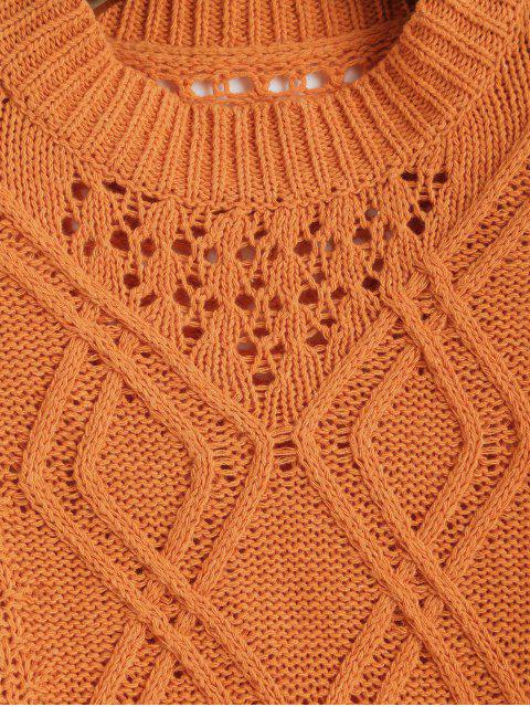 hot Drop Shoulder Open Knit Crew Neck Sweater - ORANGE ONE SIZE Mobile