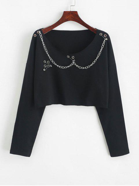 ladies Drop Shoulder Raw Edge Chains Cropped Top - BLACK M Mobile