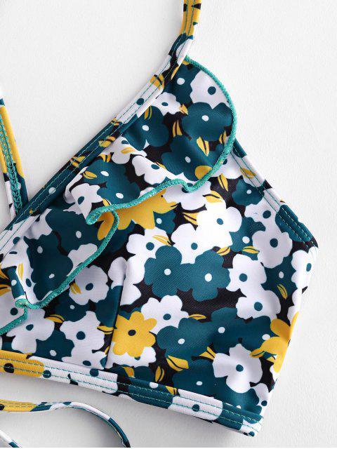 shop ZAFUL Flower Print Ruffle Criss Cross Bikini Swimsuit - GREENISH BLUE M Mobile