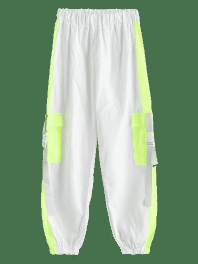 Flap Pockets Push Buckle Colorblock Jogger Pants, White