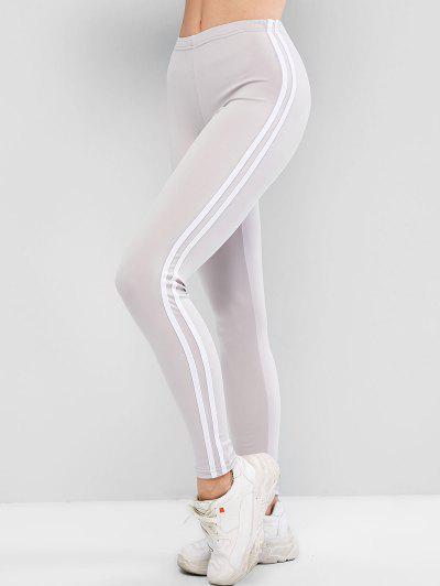 Contrast Striped Tapered Skinny Leggings - Light Gray L
