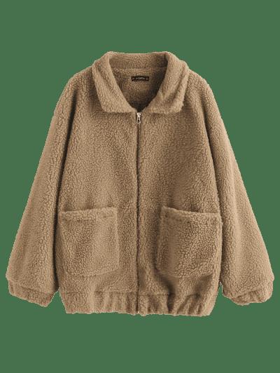 Fluffy Zip Up Winter Teddy Coat, Brown bear