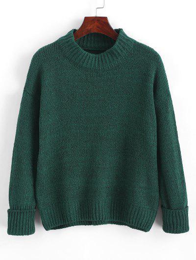 Crew Neck Heathered Loose Sweater - Deep Green