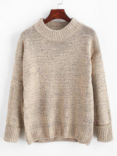Crew Neck Heathered Loose Sweater - Apricot