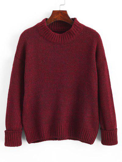 Crew Neck Heathered Loose Sweater - Red Wine