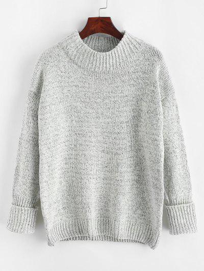 Crew Neck Heathered Loose Sweater - Light Gray