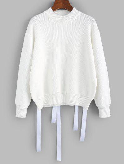 ZAFUL Drop Shoulder Ribbon Embellished Jumper Sweater - White L