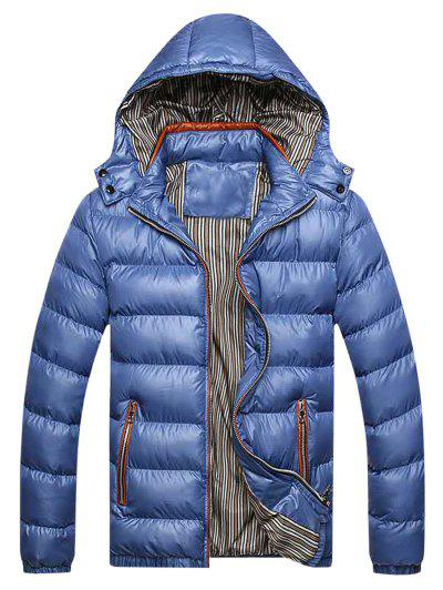 Zip Up Pockets Striped Lined Down Jacket - Blue Xl