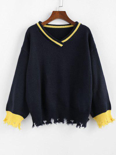 ZAFUL V Neck Drop Shoulder Frayed Hem Sweater - Denim Dark Blue M