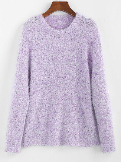 ZAFUL Drop Shoulder Fuzzy Jumper Sweater - Mauve S