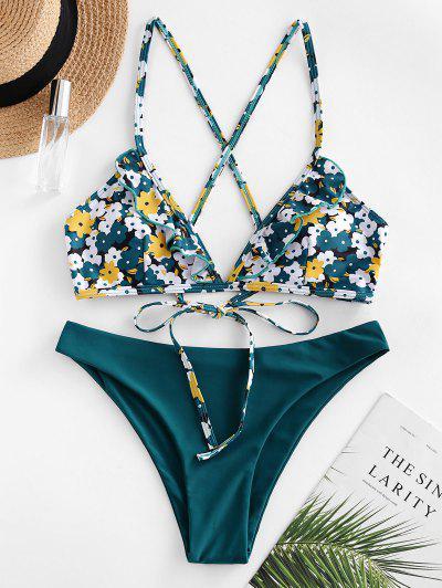 ZAFUL Kreuzer Und Querer Bikini Badebekleidung Mit Blumenmuster - Blaugrün M