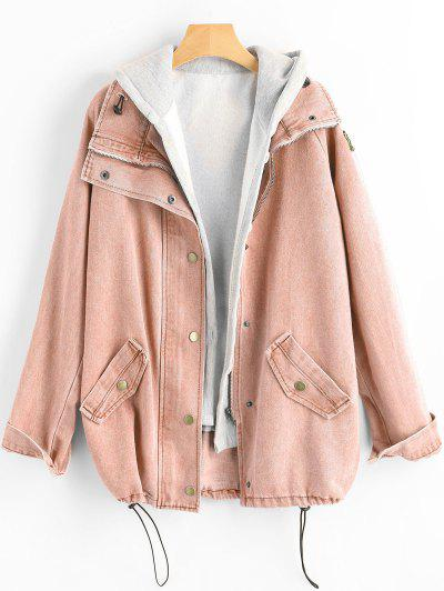 Button Up Denim Jacket And Hooded Vest - Pig Pink L