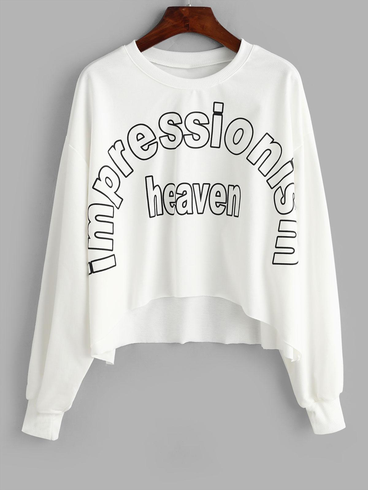 Letter Graphic Stepped Hem Oversized Crop Sweatshirt