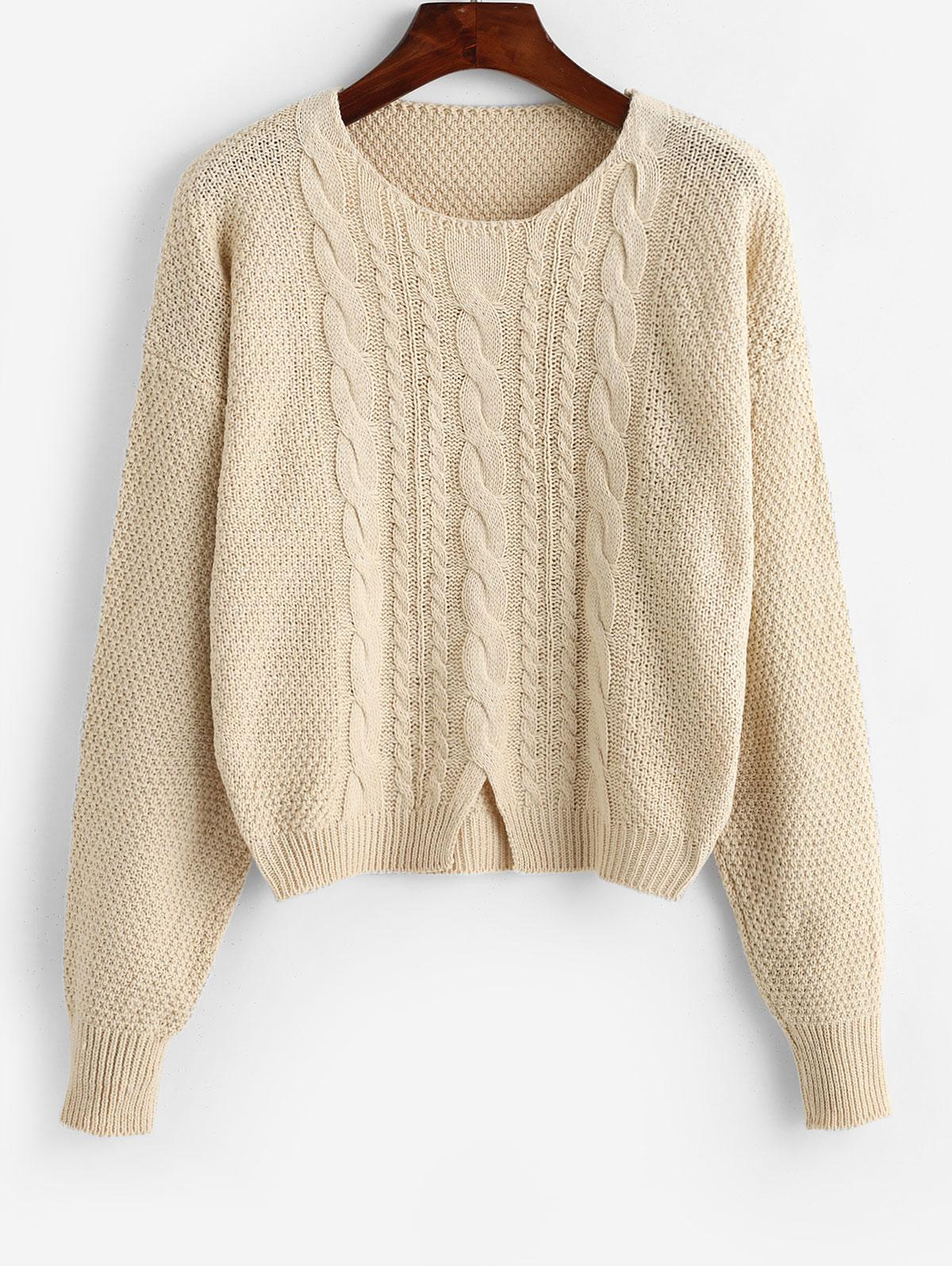 Cut Out Cable Knit Crop Sweater