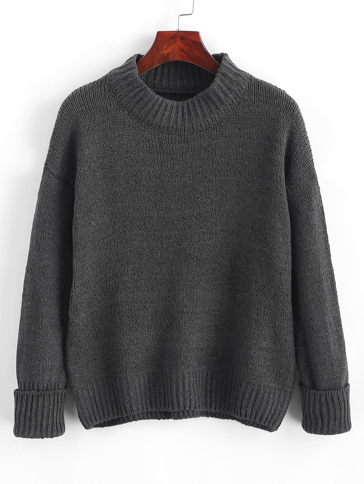 Crew Neck Heathered Loose Sweater
