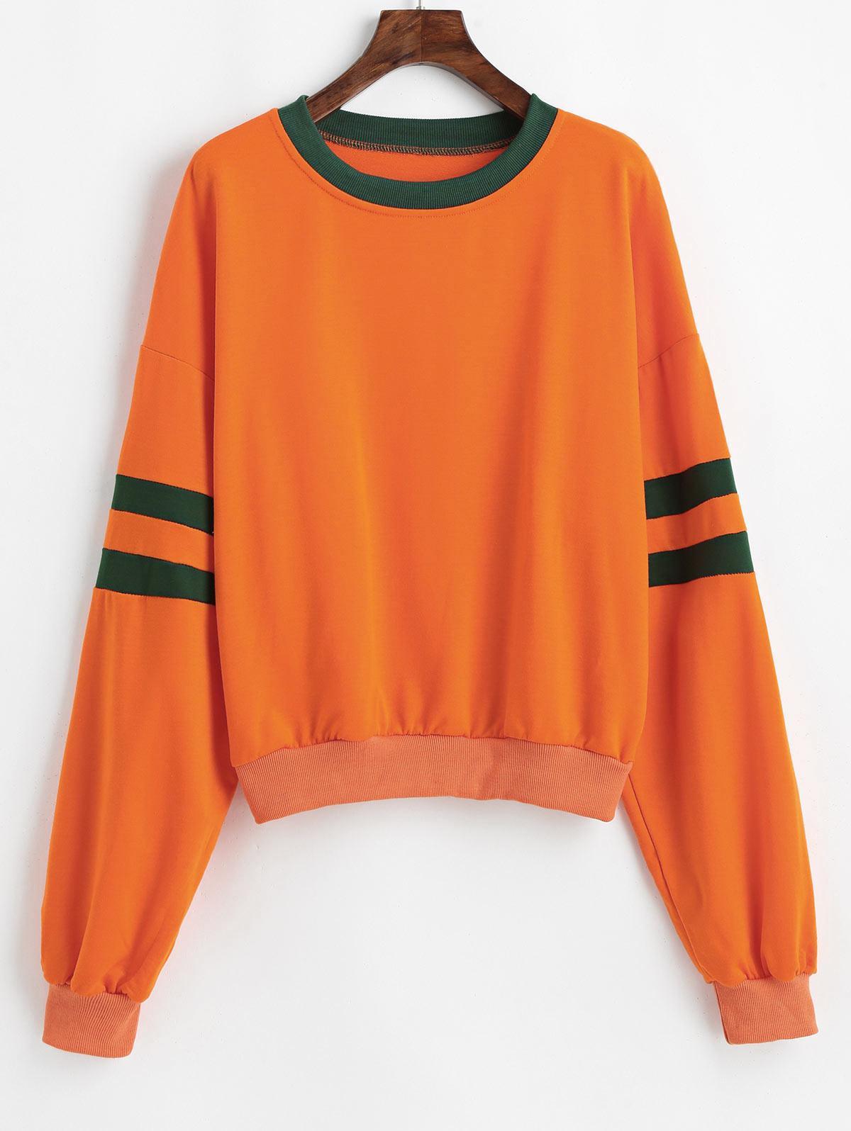 Drop Shoulder Contrast Two Tone Sweatshirt