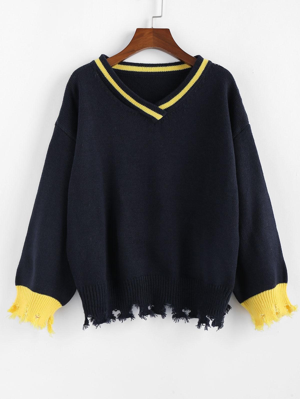 ZAFUL V Neck Drop Shoulder Frayed Hem Sweater