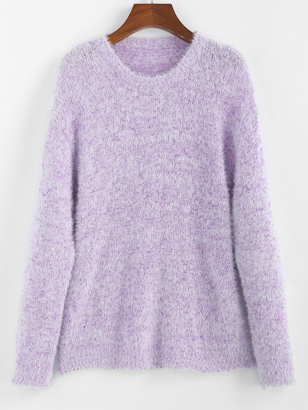 ZAFUL Drop Shoulder Fuzzy Jumper Sweater