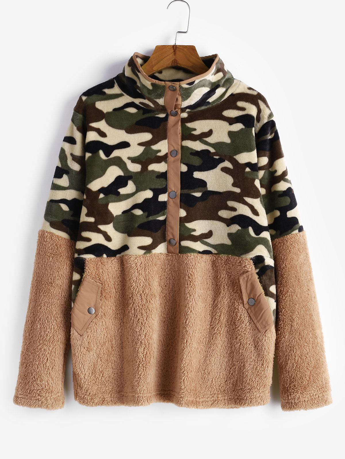 Snap Button Camouflage Pockets Fluffy Fleece Sweatshirt