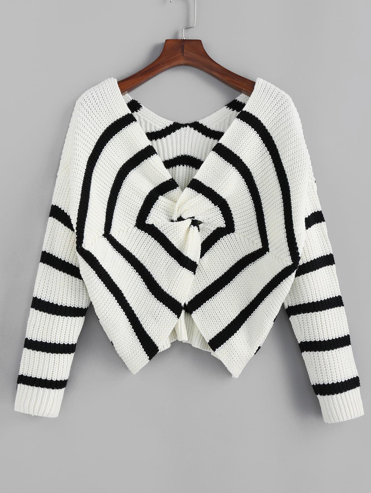 ZAFUL Twisted Spider Web Striped Drop Shoulder Sweater