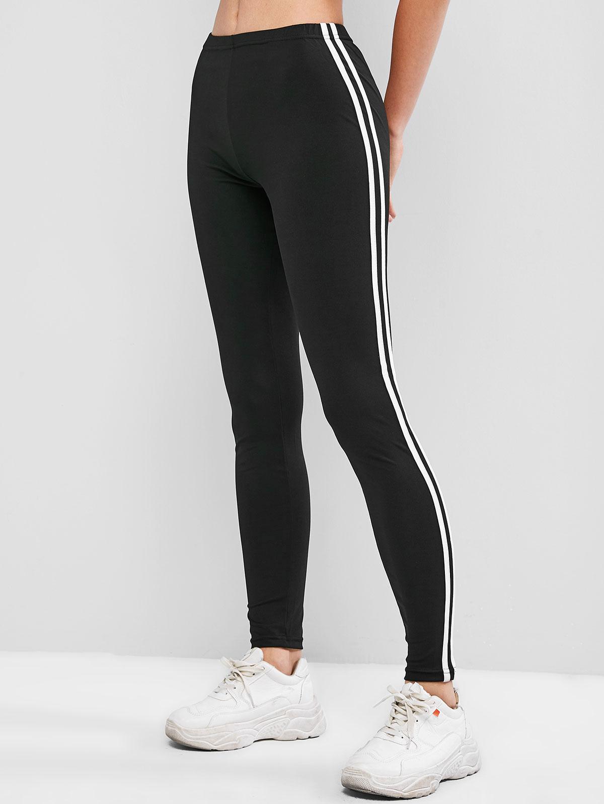 Contrast Striped Tapered Skinny Leggings, Black