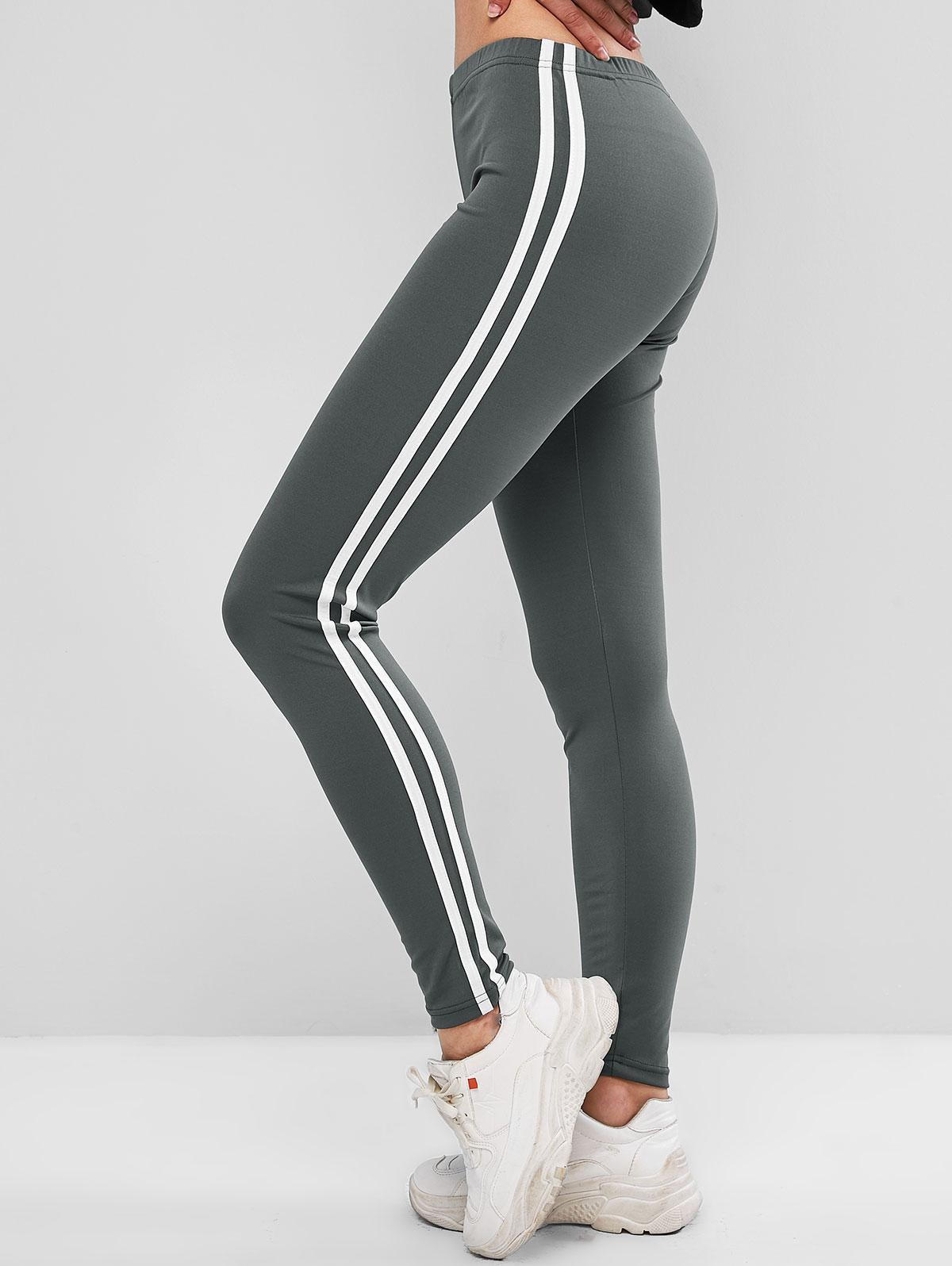 Contrast Striped Tapered Skinny Leggings, Dark gray
