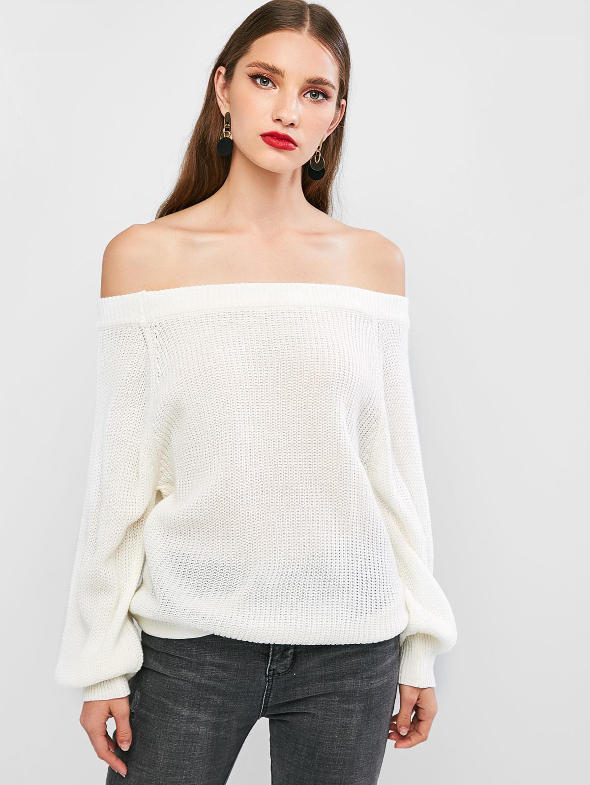 ZAFUL Off The Shoulder Lantern Sleeve Rib-knit Sweater
