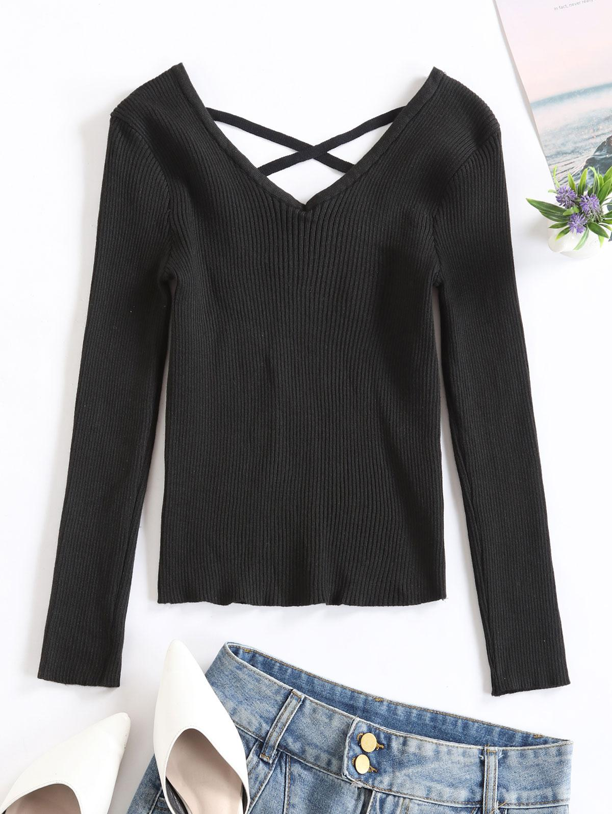 V Neck Criss Cross Solid Sweater фото