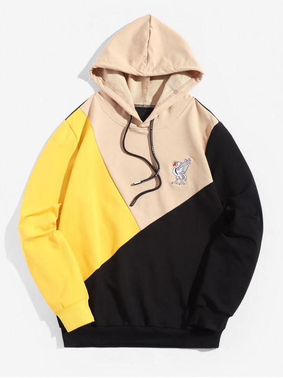 Sudadera con capucha y bordado Animal Colorblock Splicing - Caqui XS