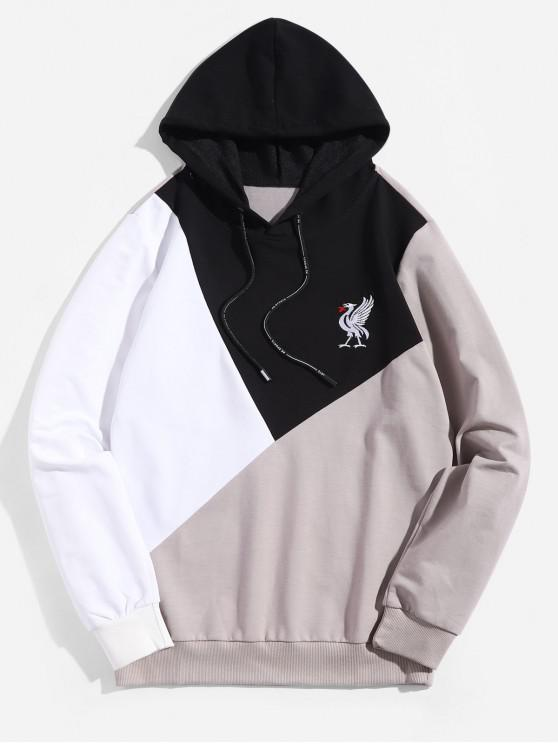 Sudadera con capucha y bordado Animal Colorblock Splicing - Negro S
