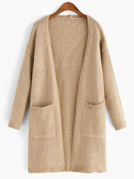 hot Heathered Dual Pockets Open Knit Cardigan - KHAKI ONE SIZE