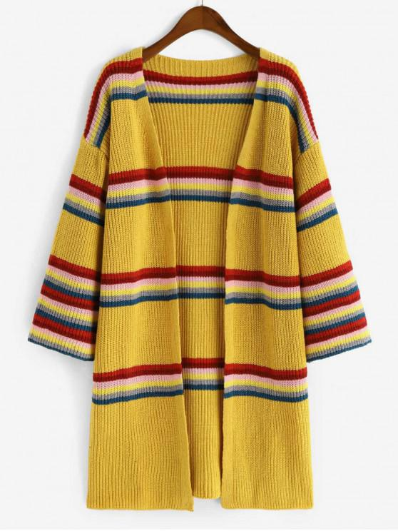 lady Striped Chunky Knit Open Cardigan - BRIGHT YELLOW ONE SIZE
