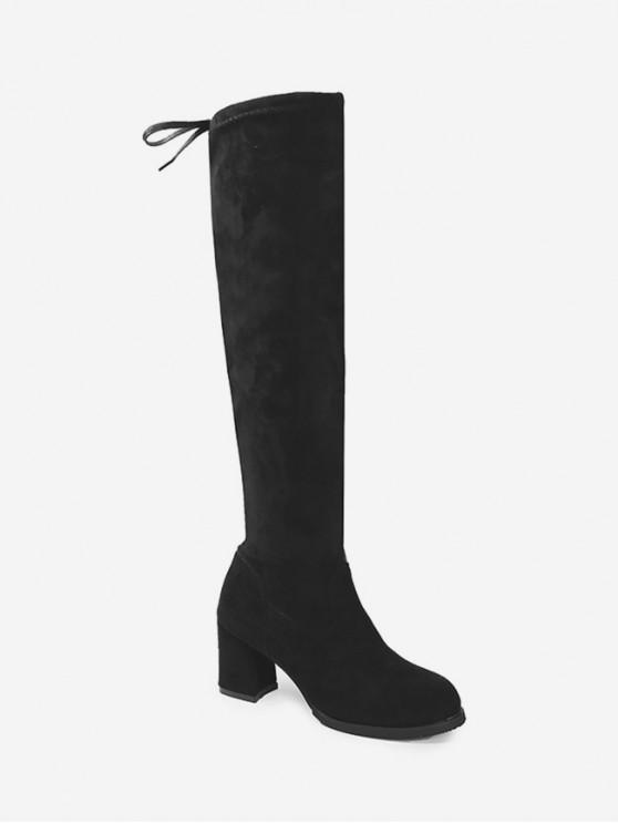仿麂皮矮胖鞋跟大腿高靴 - 黑色 歐盟44