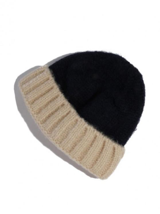 womens Color-blocking Winter Knitted Hat - BLACK