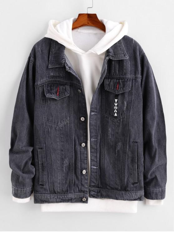 best Pocket Button Design Denim Jacket - ASH GRAY M