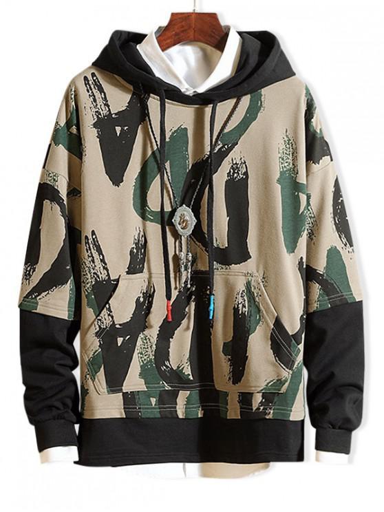 shop Camouflage Print Colorblock Splicing Hoodie - MULTI-B M