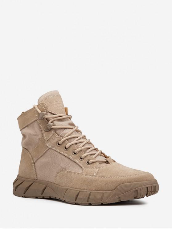 shops Retro Lace Up Ankle Cargo Boots - KHAKI EU 42