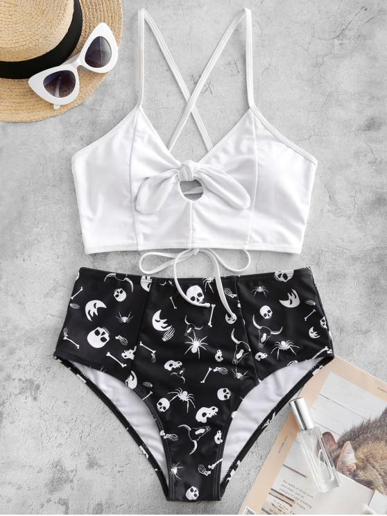 affordable ZAFUL Halloween Spider Skull Lace Up Tied Tankini Swimsuit - MULTI-A L
