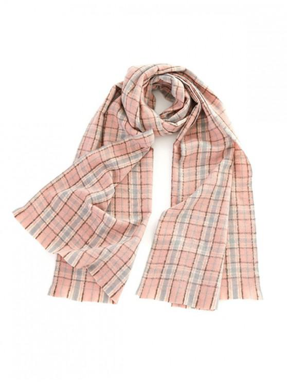 latest Winter Plaid Pattern Long Scarf - PINK