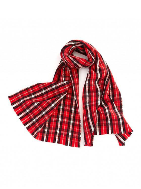 chic Winter Plaid Pattern Long Scarf - RED